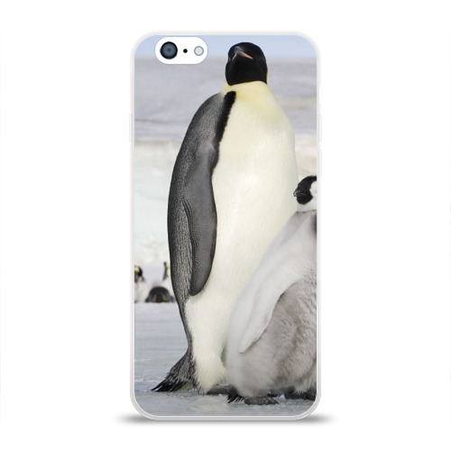 Чехол для Apple iPhone 6 силиконовый глянцевый  Фото 01, Пингвин и пингвинята