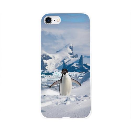 Чехол для Apple iPhone 8 силиконовый глянцевый  Фото 01, Пингвин в горах