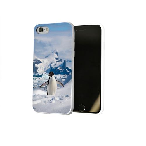 Чехол для Apple iPhone 8 силиконовый глянцевый  Фото 02, Пингвин в горах