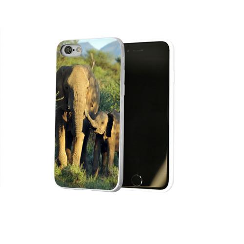 Чехол для Apple iPhone 8 силиконовый глянцевый  Фото 02, Слониха и слоненок в природе