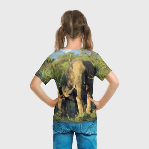 Детская футболка 3D  Фото 04, Слониха и слоненок в природе