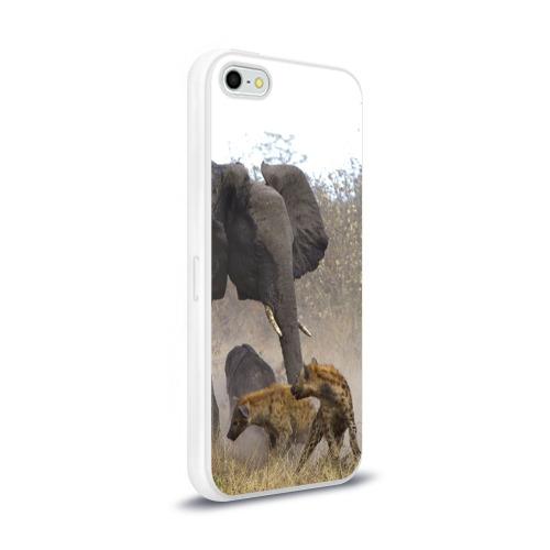 Чехол для Apple iPhone 5/5S силиконовый глянцевый  Фото 02, Гиены охотятся на слона