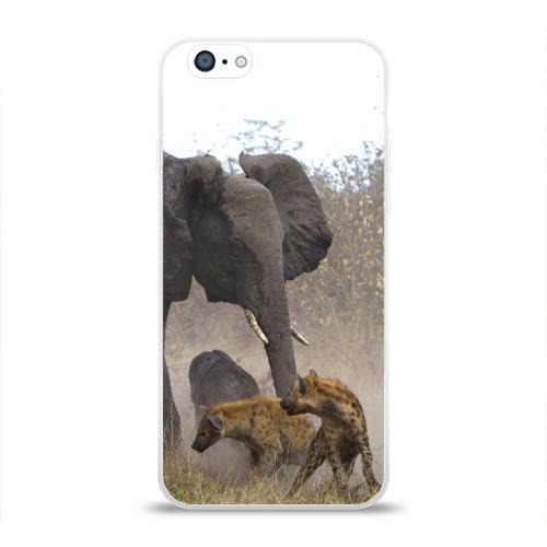 Чехол для Apple iPhone 6 силиконовый глянцевый  Фото 01, Гиены охотятся на слона