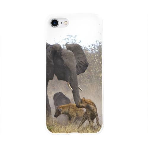 Чехол для Apple iPhone 8 силиконовый глянцевый  Фото 01, Гиены охотятся на слона