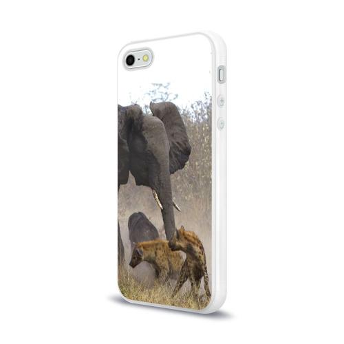 Чехол для Apple iPhone 5/5S силиконовый глянцевый  Фото 03, Гиены охотятся на слона