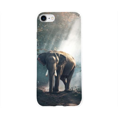 Чехол для Apple iPhone 8 силиконовый глянцевый  Фото 01, Слон в лесу