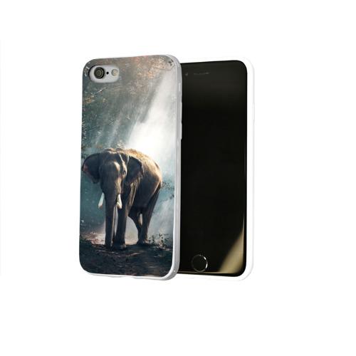 Чехол для Apple iPhone 8 силиконовый глянцевый  Фото 02, Слон в лесу