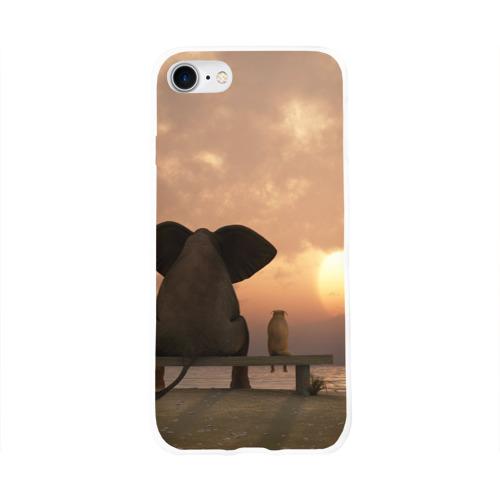 Чехол для Apple iPhone 8 силиконовый глянцевый  Фото 01, Слон с собакой на лавке, закат