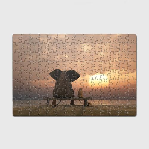 Пазл магнитный 126 элементов  Фото 01, Слон с собакой на лавке, закат