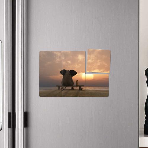 Магнитный плакат 3Х2  Фото 04, Слон с собакой на лавке, закат