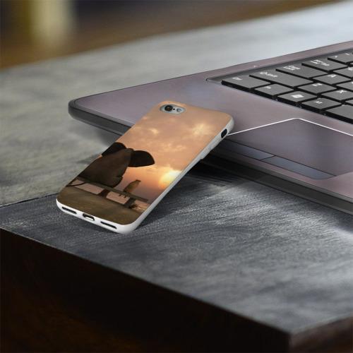 Чехол для Apple iPhone 8 силиконовый глянцевый  Фото 03, Слон с собакой на лавке, закат