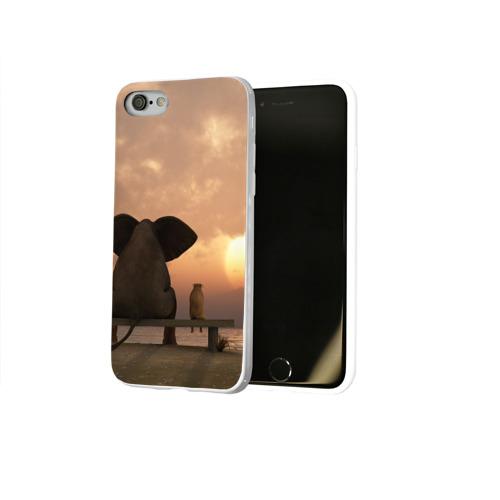 Чехол для Apple iPhone 8 силиконовый глянцевый  Фото 02, Слон с собакой на лавке, закат