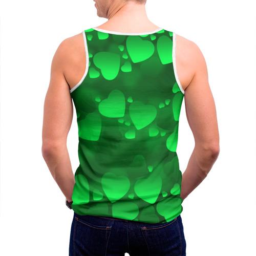 Мужская майка 3D  Фото 04, Зеленые сердечки
