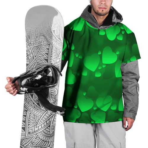 Накидка на куртку 3D  Фото 01, Зеленые сердечки