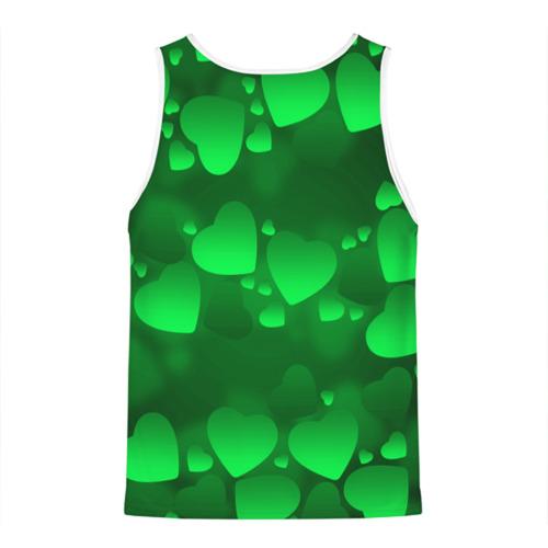 Мужская майка 3D  Фото 02, Зеленые сердечки