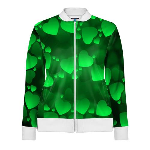 Женская олимпийка 3D  Фото 01, Зеленые сердечки