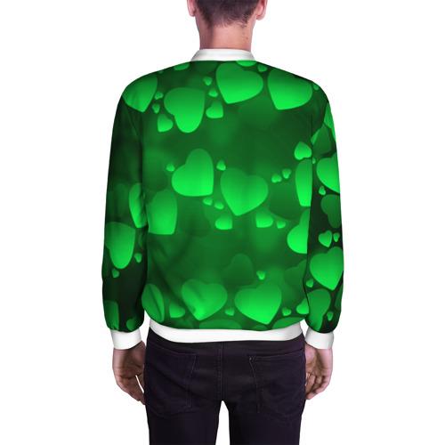 Мужской бомбер 3D  Фото 04, Зеленые сердечки