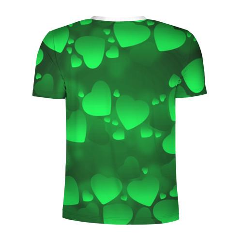Мужская футболка 3D спортивная  Фото 02, Зеленые сердечки