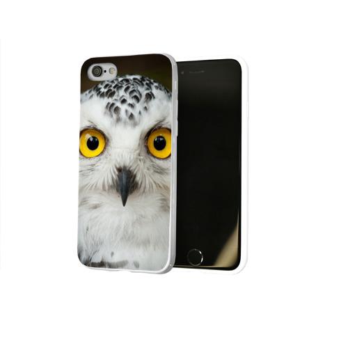 Чехол для Apple iPhone 8 силиконовый глянцевый  Фото 02, Белый филин