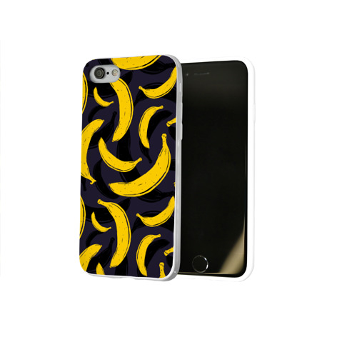 Чехол для Apple iPhone 8 силиконовый глянцевый  Фото 02, Бананы