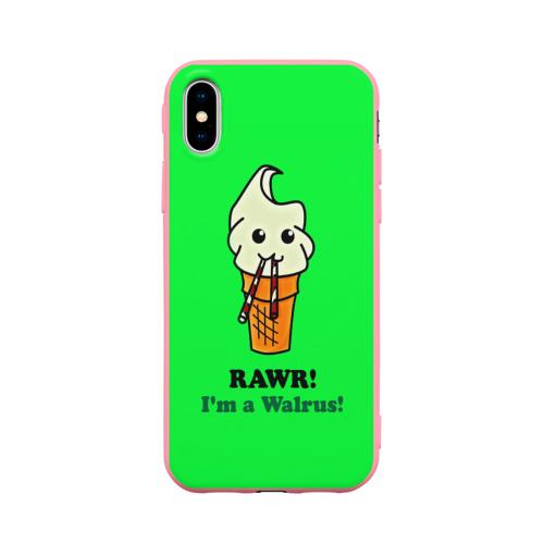 Чехол для Apple iPhone X силиконовый матовый Смешное мороженко Фото 01