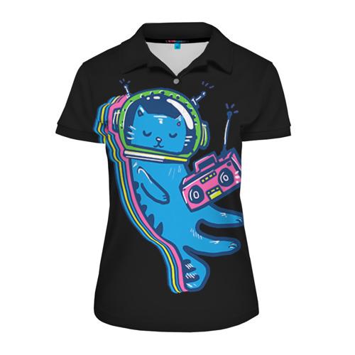 Женская рубашка поло 3D Космокот 1