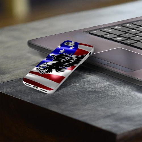 Чехол для Apple iPhone 8 силиконовый глянцевый  Фото 03, Флаг США с орлом