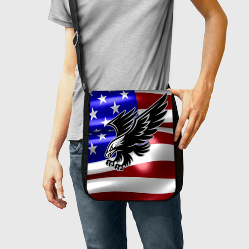 Сумка через плечо Флаг США с орлом Фото 01