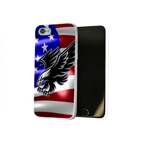 Чехол для Apple iPhone 8 силиконовый глянцевый  Фото 02, Флаг США с орлом