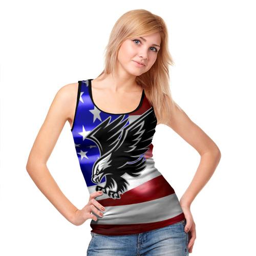 Женская майка 3D Флаг США с орлом Фото 01