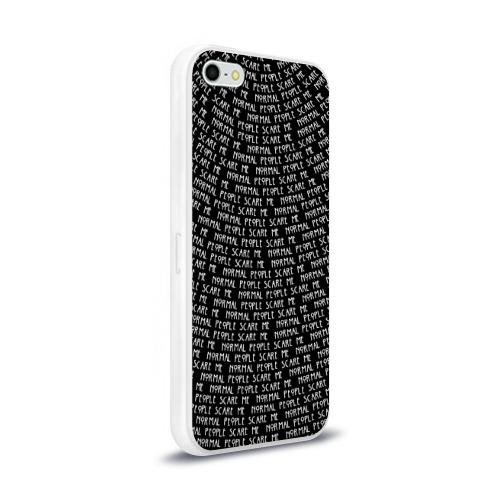 Чехол для Apple iPhone 5/5S силиконовый глянцевый Normal people scare me Фото 01