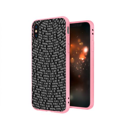 Чехол для Apple iPhone X силиконовый матовый Normal people scare me Фото 01