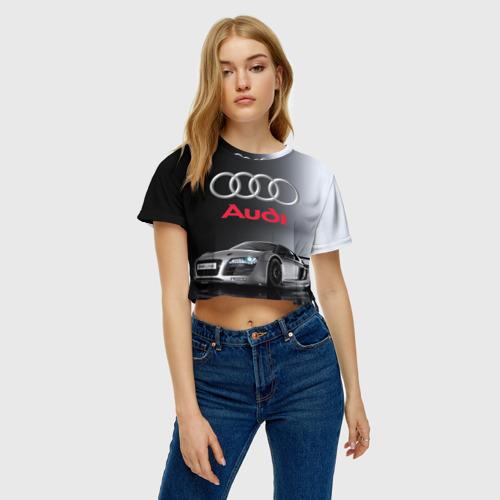 Женская футболка 3D укороченная  Фото 04, Серебристая Ауди