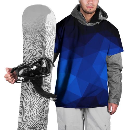 Накидка на куртку 3D  Фото 01, Синие полигоны