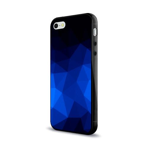 Чехол для Apple iPhone 5/5S силиконовый глянцевый Синие полигоны Фото 01