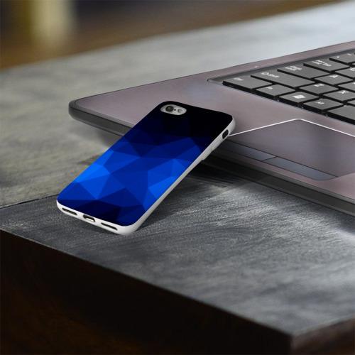 Чехол для Apple iPhone 8 силиконовый глянцевый  Фото 03, Синие полигоны