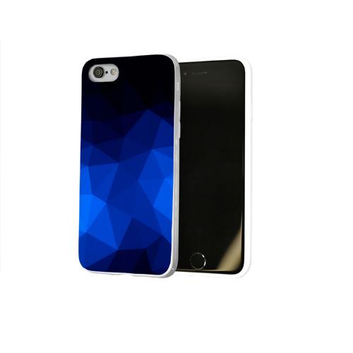 Чехол для Apple iPhone 8 силиконовый глянцевый  Фото 02, Синие полигоны