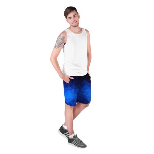 Мужские шорты 3D Синие полигоны Фото 01