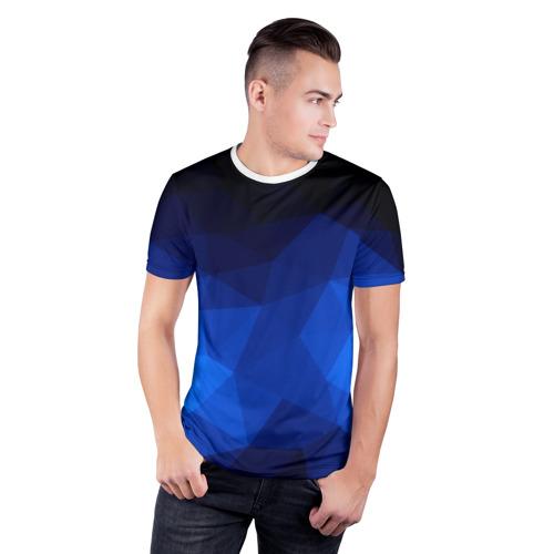 Мужская футболка 3D спортивная  Фото 03, Синие полигоны