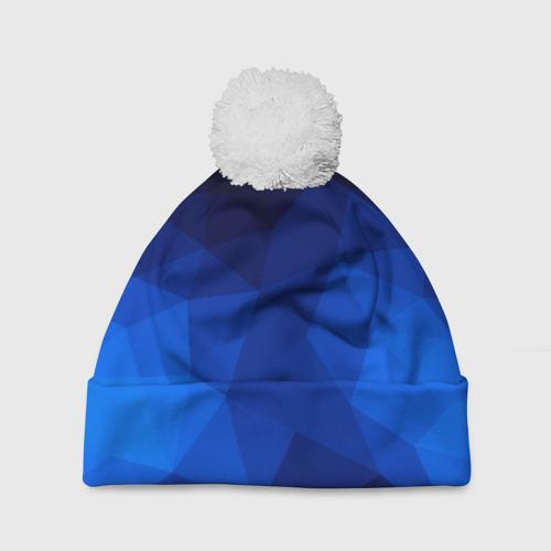 Шапка 3D c помпоном  Фото 01, Синие полигоны