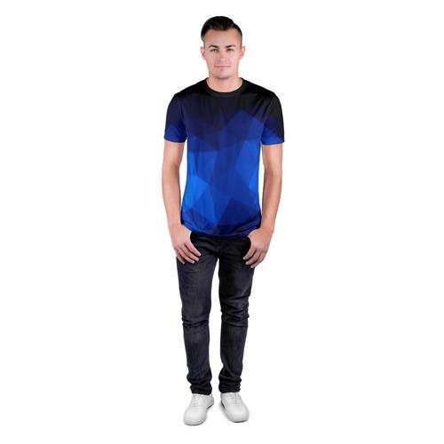 Мужская футболка 3D спортивная  Фото 04, Синие полигоны