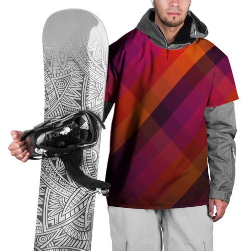 Накидка на куртку 3D  Фото 01, Ромбы, красная текстура
