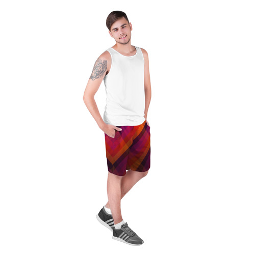 Мужские шорты 3D  Фото 03, Ромбы, красная текстура