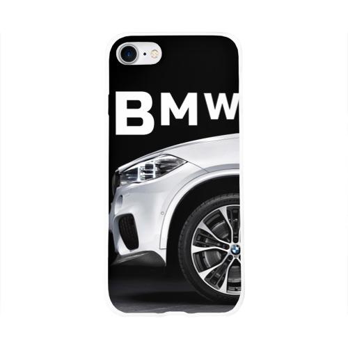 Чехол для Apple iPhone 8 силиконовый глянцевый  Фото 01, BMW белая