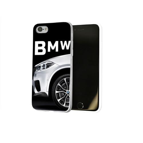 Чехол для Apple iPhone 8 силиконовый глянцевый  Фото 02, BMW белая