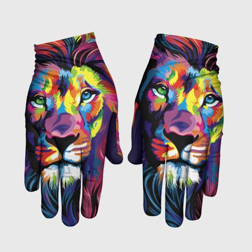 Перчатки 3D Красочный лев Фото 01