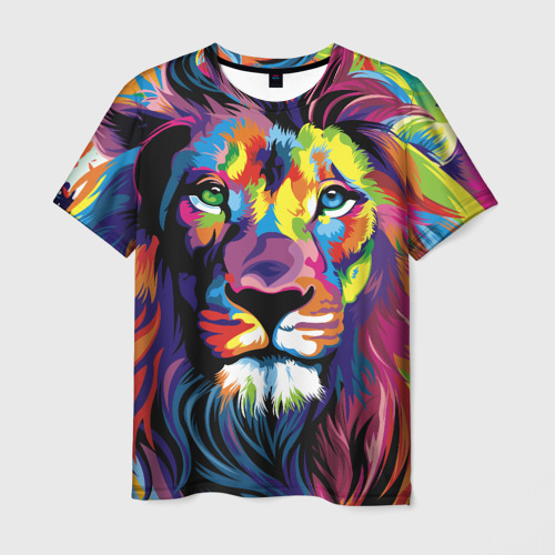 Мужская футболка 3D Красочный лев