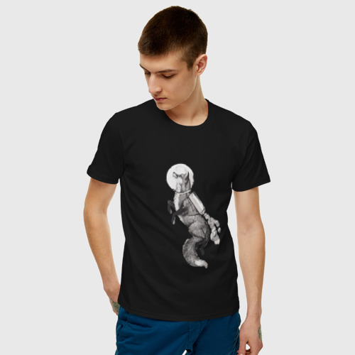 Мужская футболка хлопок Лиса Космонавт Фото 01