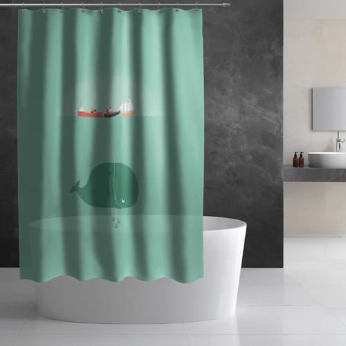 Штора 3D для ванной  Фото 02, Кит с корабликами