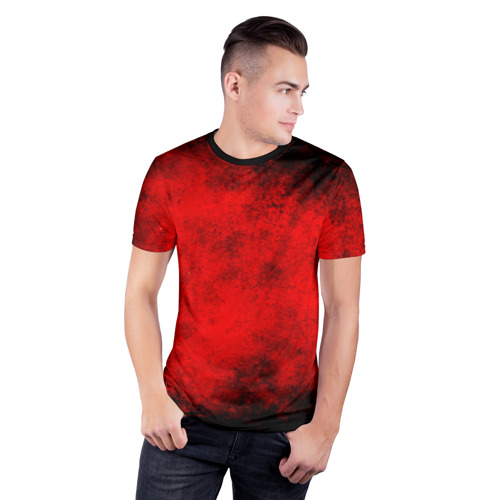 Мужская футболка 3D спортивная Grunge red Фото 01